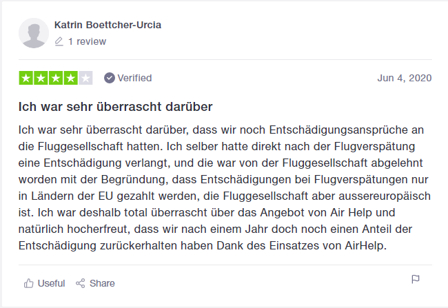 AirHelp Bewertung von Katrin