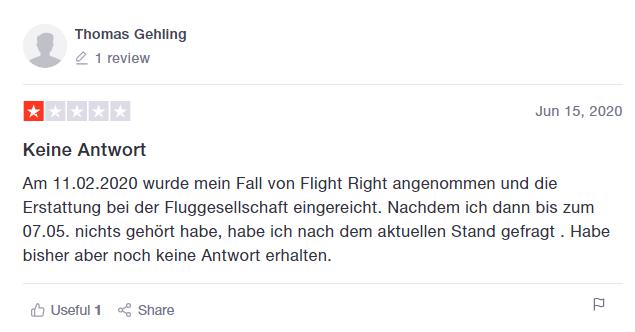 FlightRight Bewertung von Thomas